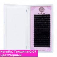 Черные ресницы ENIGMA С / 0,07 (одна длина) 16 линий