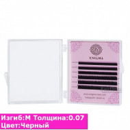 Черные ресницы ENIGMA M / 0,07 (микс) 6 линий