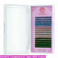 Цветные ресницы ENIGMA Wild tropics/ D / 0.07 (микс) 15 линий